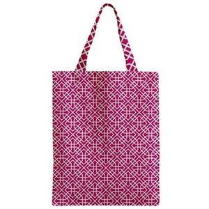 NWT Pink White Canvas Tote - Preppy Lattice Print